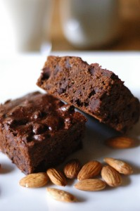 Dark Chocolate Fudge Almond Brownies